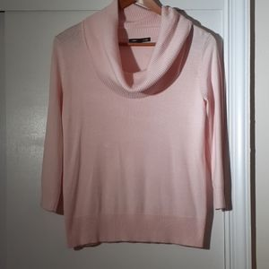 Pink cowl neck 3/4 sleeve sweater, size M